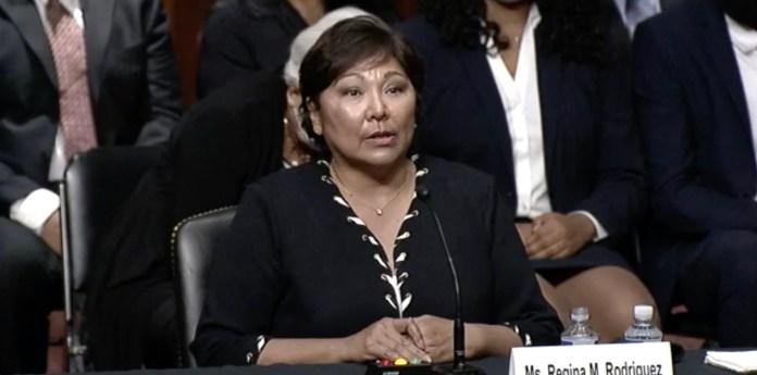 Regina Rodriguez testifies before the Senate Judiciary Committee