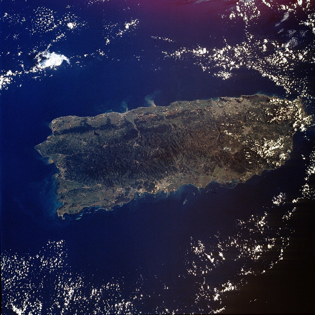 A satellite view of Puerto Rico, a U.S. territory.