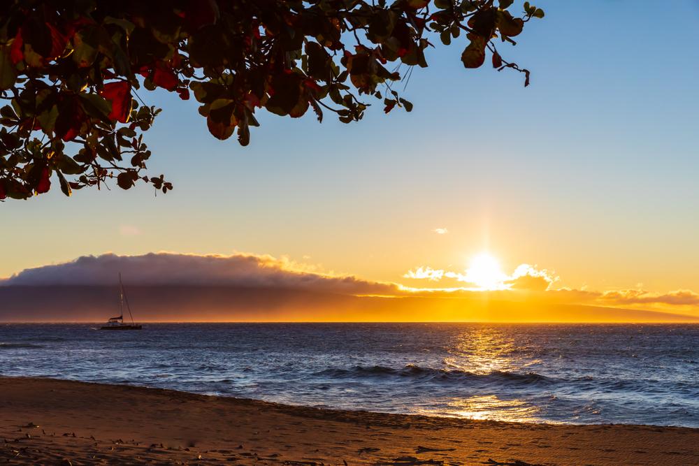 Sunset in Kaanapali Beach on Maui, Hawaii
