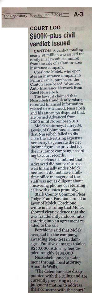 Newspaper Article discussing case. From The Repository: Court Log: $900K-plus civil verdict issued.