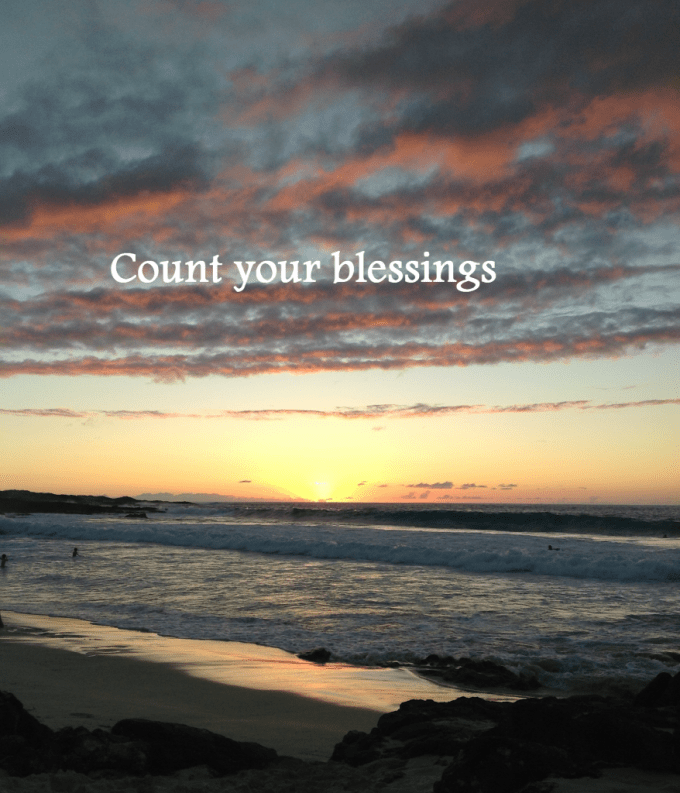 Count your blessings-beach at sunset