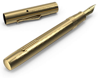 A gold fountain pen to indicate writing.