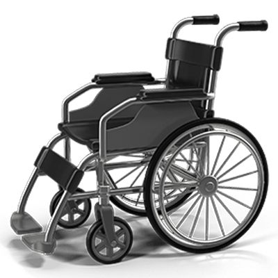 A wheelchair to signify an injury.