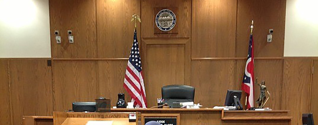 An American courtroom as an example of a foreign court.