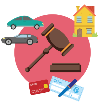 A gavel surrounded by the items that can provide child support.