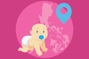 A foreign baby with the Philippine map behind him showing his birthplace.