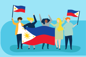 People celebrating their successful Philippine naturalization and holding up flags.