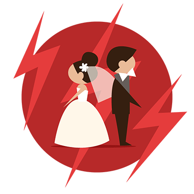 Bride and Groom facing away from each other on a red background.