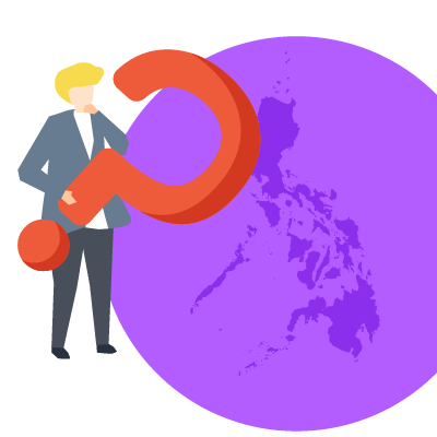 A man holding a question mark over the Philippines.