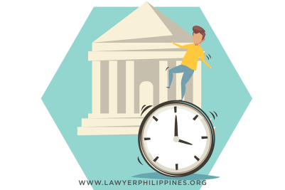 A ringing clock and a courtroom to indicate court processes take time