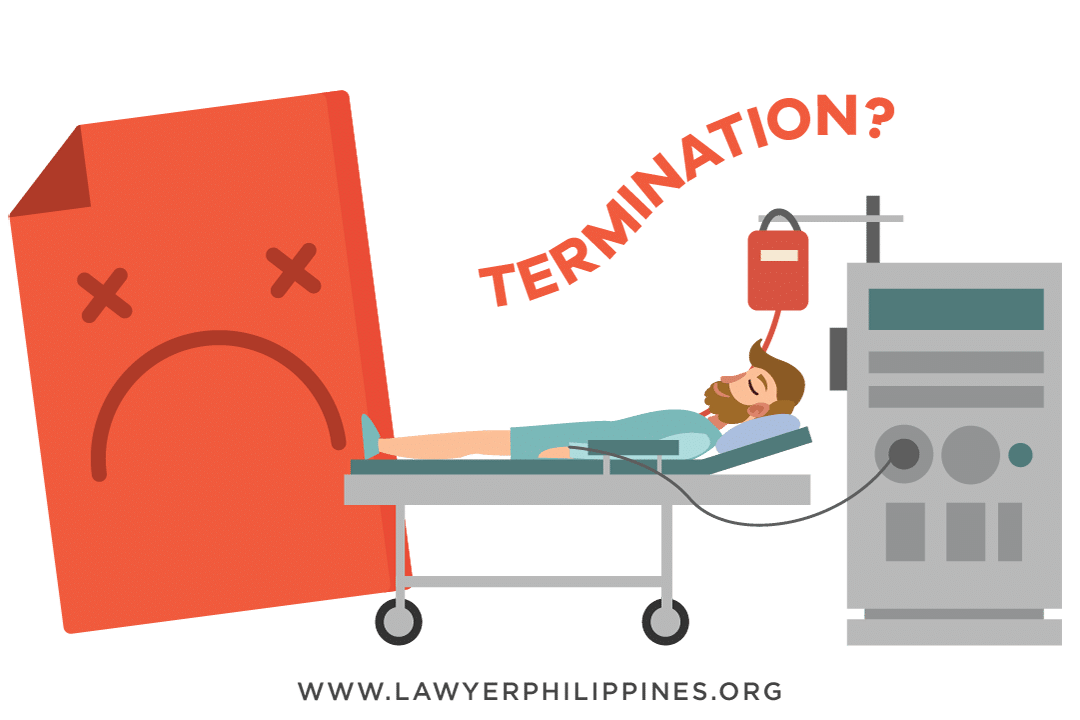 An ill man confined at the hospital with a notice of termination behind the hospital bed.