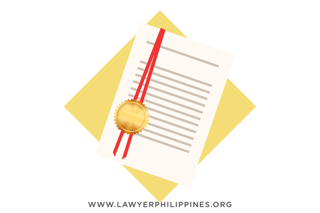 Red ribbon attached to a document