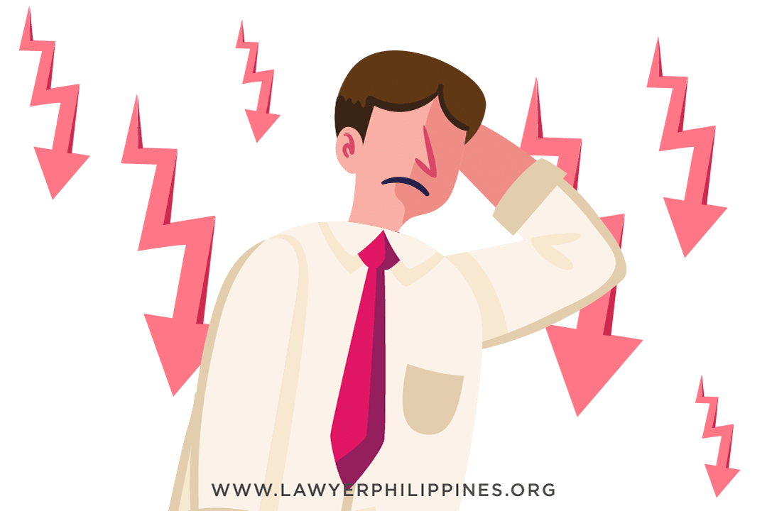 An upset man with several arrows pointing down to signify redundancy.