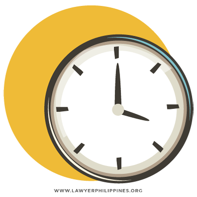 A picture showing a clock to indicate the time involved.