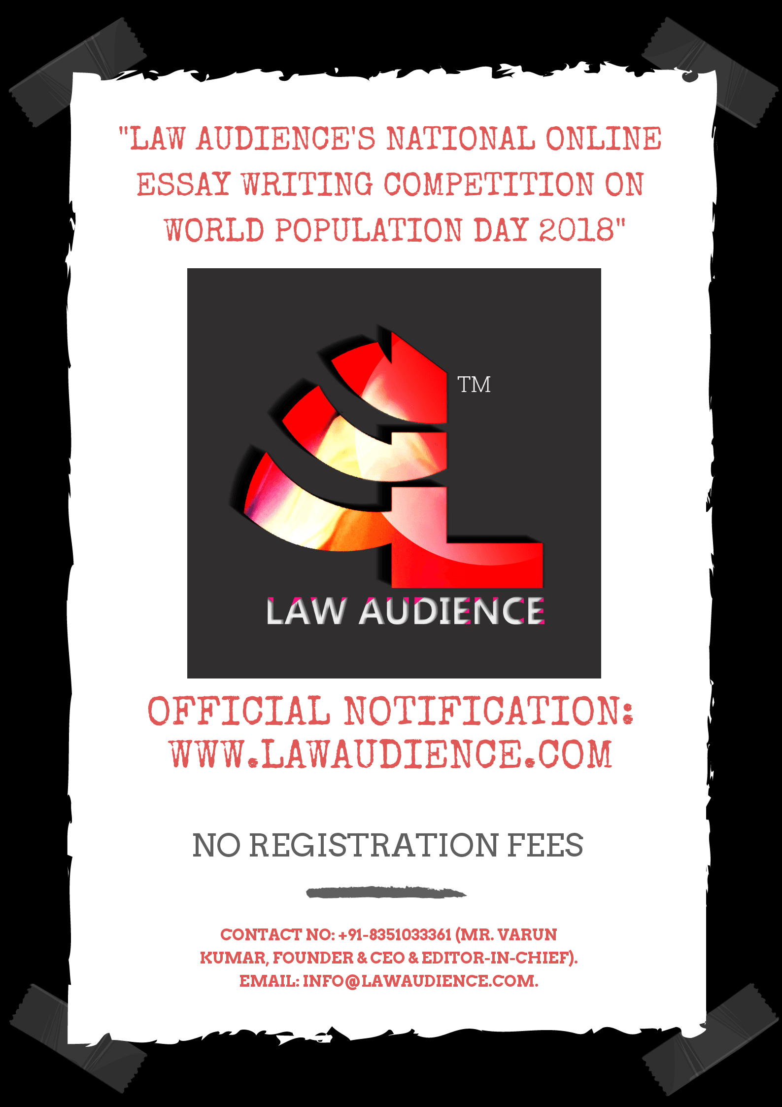 LAW AUDIENCE'S NATIONAL ONLINE ESSAY WRITING COMPETITION
