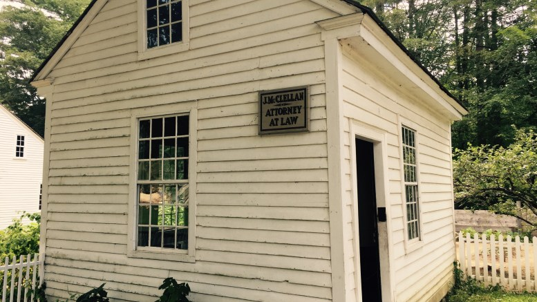A one-room, freestanding law office from the late 1700s, now at Old Sturbridge Village, Mass. Photo credit: L. Tripoli