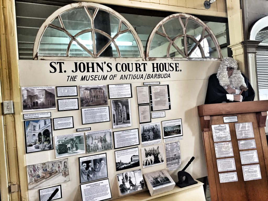 Lawyers Make History: An exhibit at the Museum of Antigua and Barbuda about the building's courthouse past. Photo credit: M. Ciavardini.