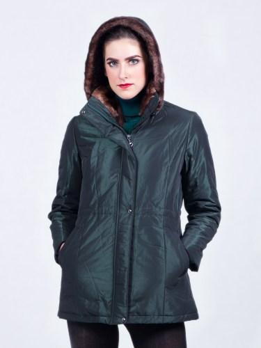 Women Jackets Waterproof Fur Hood Green