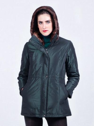 Women Jackets Waterproof Fur Hood Green