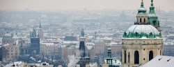 PRAGUE, CZECH REPUBLIC - JANUARY 27:  City centre with the St. Nicholaus Church are seen after snowfall on January 27, 2014 in Prague, Czech Republic. Prague is popular tourist winter destination.  (Photo by Matej Divizna/Getty Images)