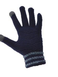 Simple Wool Gloves Three Stripe - Dark Blue