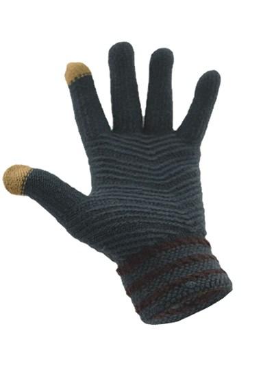 Simple Wool Gloves Three Stripe - Dark Grey