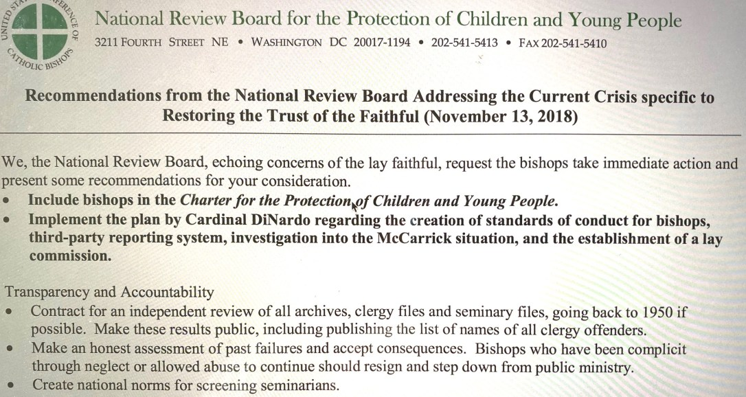 National Review Board document illustrating its authority to speak to  bishops for laity under the USCCB brand.