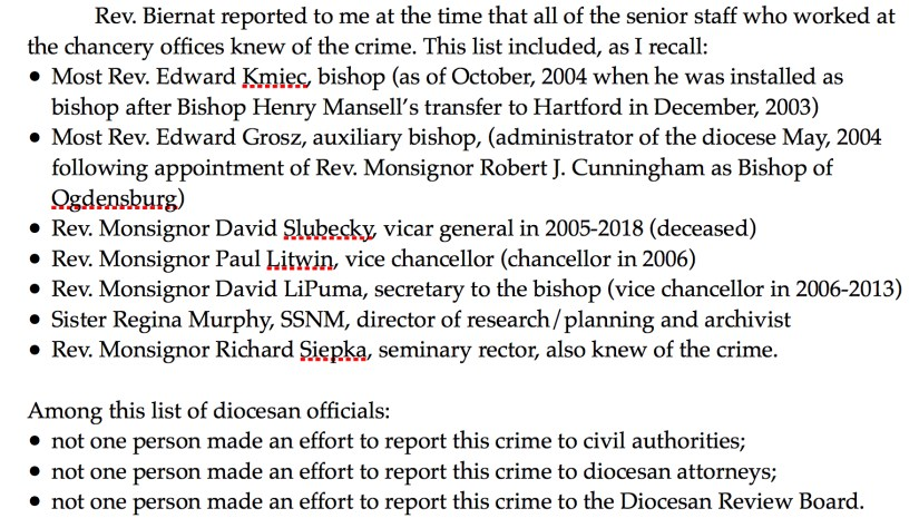 List of diocesan officials the seminarian said knew of his report about the alleged crime.