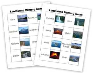 Landforms memory game