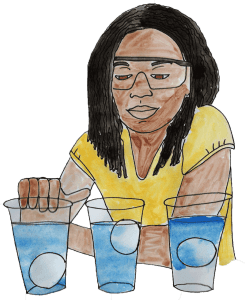 watercolor of a girl doing a density experiment