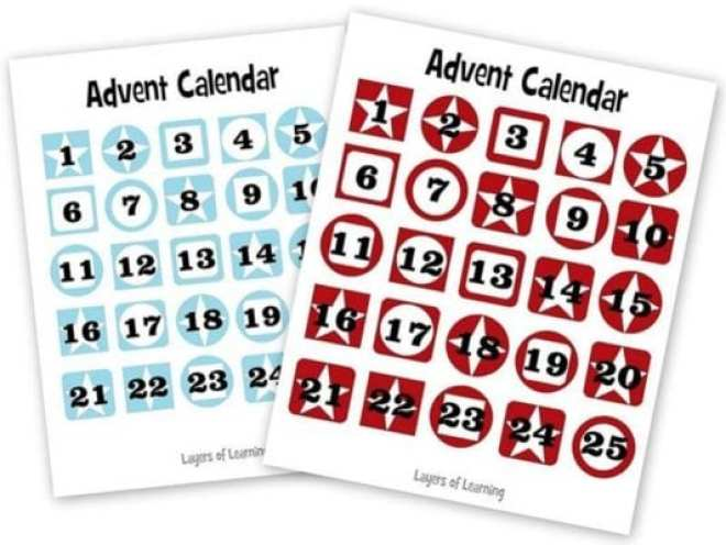 Make a paper chain advent calendar.  This post has the free printable tags to put on your advent calendar, in blue and in red.  Write one activity per day in December to do with your kids.  They find out the activity when they tear off the ring.