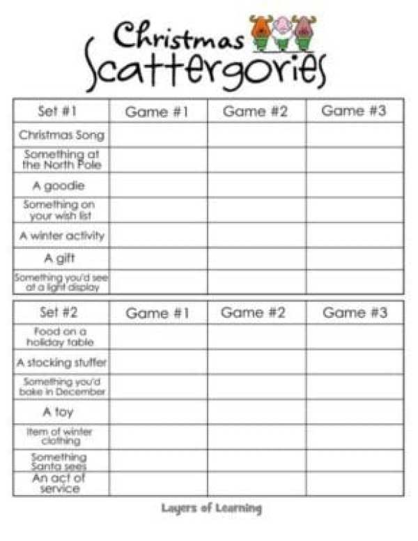 Adaptable image throughout scattergories lists 1 12 printable