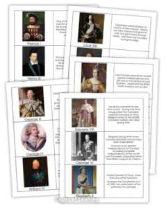 Monarchs of Canada printable matching cards