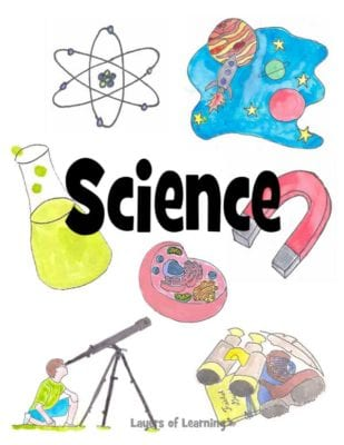 A printable science notebook cover for kids to slip in their binder, from Layers of Learning.