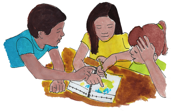 Kids working on Book of Years