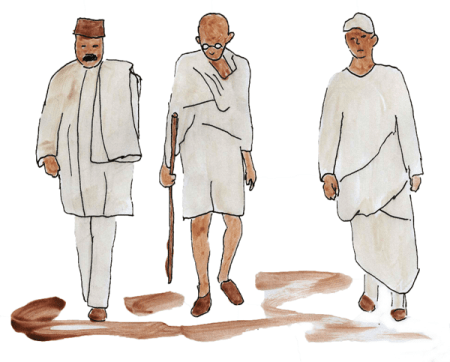 Gandhi and two followers walking down a road