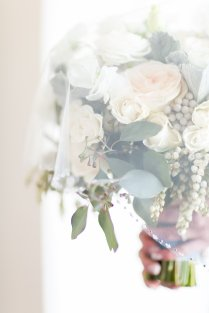 Blush and light blue wedding at the Mandarin Oriental. Florals by Layers of Lovely Floral Design, Coordination by Scheme Events. Photography by J. Anne Photography. Linens by La Tavola, Paper Suite by She Paperie. February Wedding in Las Vegas.