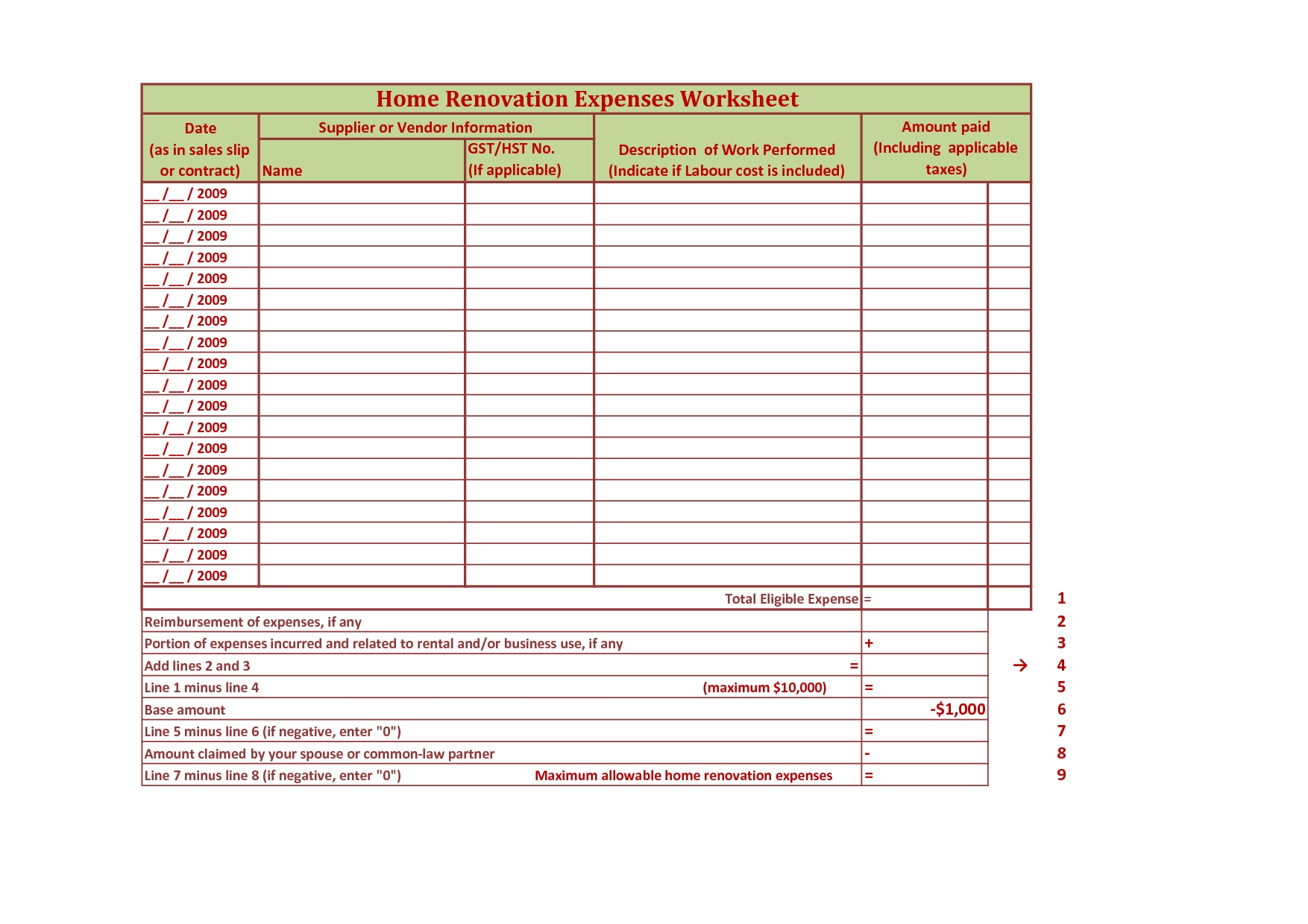Worksheet Home Renovation Budget Worksheet Hunterhq Free