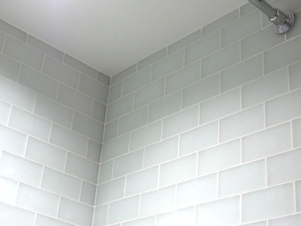 white glass subway tile with frost