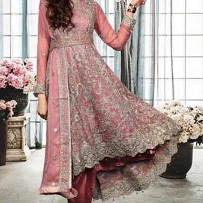 Chiffon Long Trail Fully Embroidered Dress LC-001