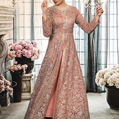 Chiffon Long Trail Fully Embroidered Dress LC-006
