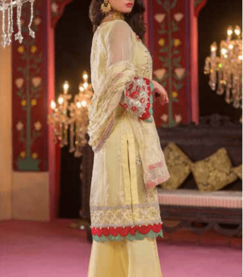 Embroidered & Hand Embalished Organza Suit Adans Libas CAL-6