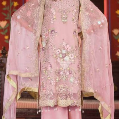 Embroidered & Hand Embalished Organza Suit Adans Libas CAL-1