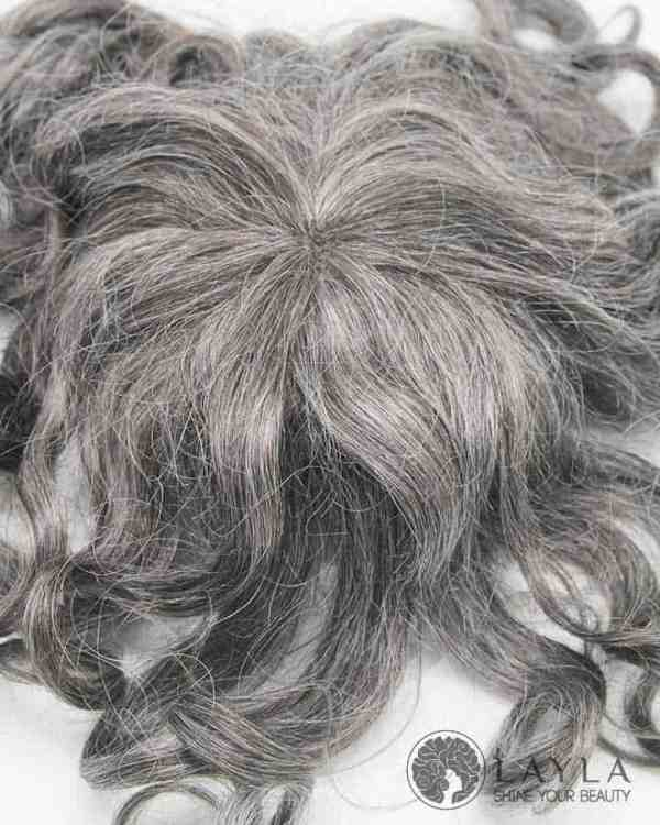 Gray Hair Replacement System For Men Mono Base & PU Around