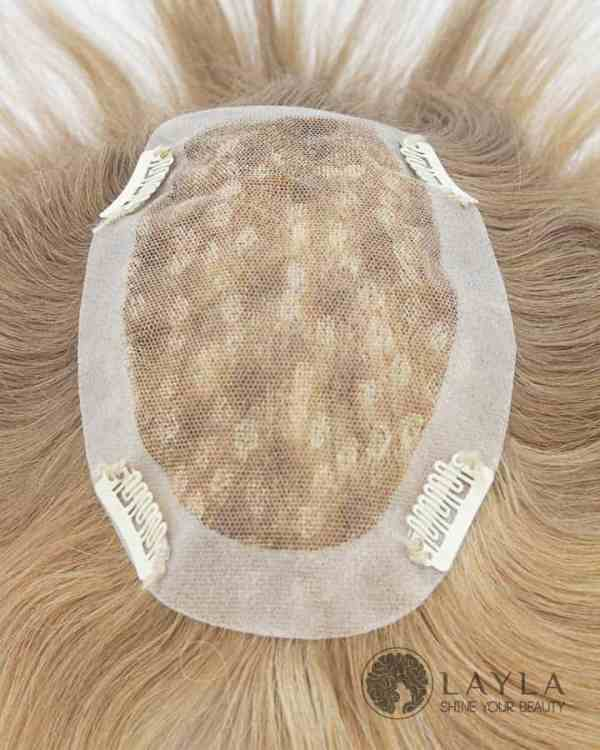 Blond Human Hair Toupee French Lace