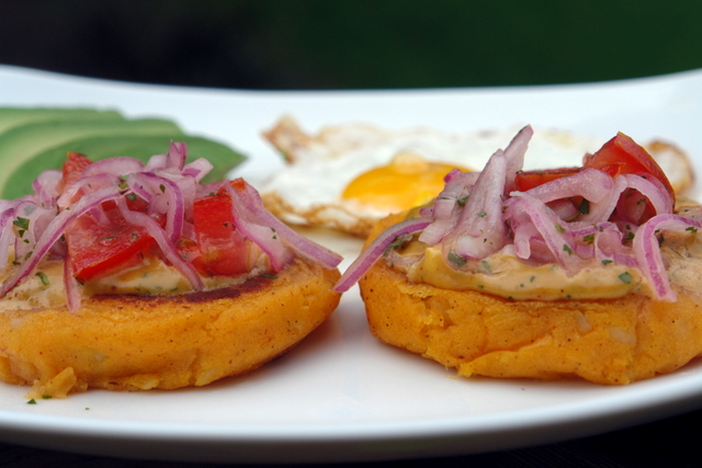 llapingachos or Ecuadorian potato patties
