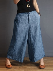 S-5XL Women Casual Loose Mid Rise Wide Leg Pants