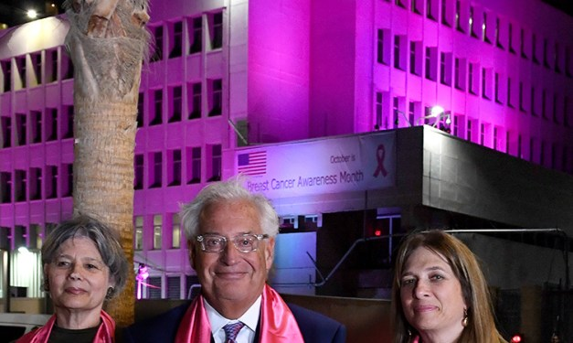 U.S. Embassy Illuminated in Pink for Breast Cancer Awareness