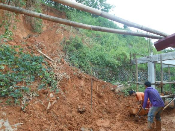 Landslide beside our kitchen.layog country farm