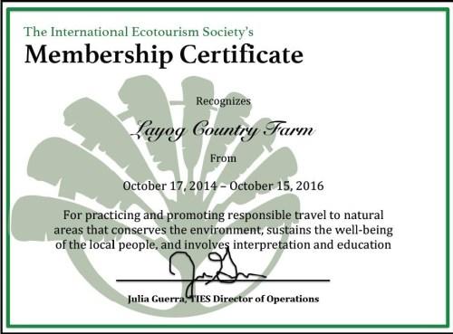TIES Membership Certificate